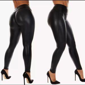 NWOT Wet Look Black Pants Leggings